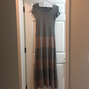 GAP maxi dress with grey and dusky rose stripes